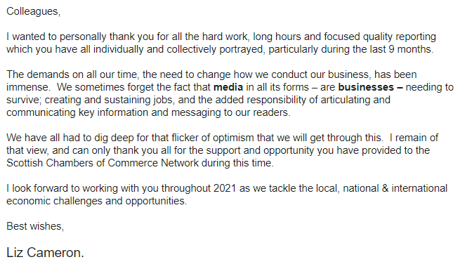 Nice message to the media from @lizcameronscc of @ScotChambers - very much appreciated