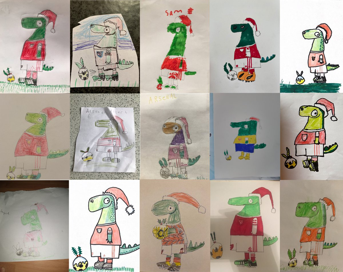 We've loved seeing all of your festive @Gunnersaurus drawings 🧑‍🎨  JG members received early access to our exclusive draw-a-long with @RobBiddulph video but now all young Arsenal fans (and parents) can have a go! 🦖  ➡️