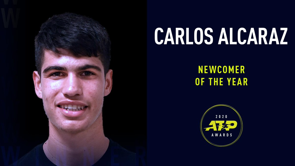 There's nothing like your first #ATPAwards trophy! 🏆  @alcarazcarlos03 is the 2020 Newcomer of the Year 👏 https://t.co/3o5FoHYNpW