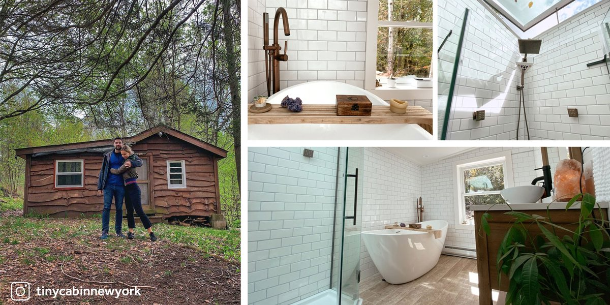 This bathroom in an upstate New York cabin gets a major upgrade with a new freestanding tub, single-hole Faucet, and wooden vanity from Signature Hardware. The shower skylight also adds natural light to make the room brighter and more spacious. See more: https://t.co/jUZ0SDjg5l https://t.co/5c9gmP3gAx