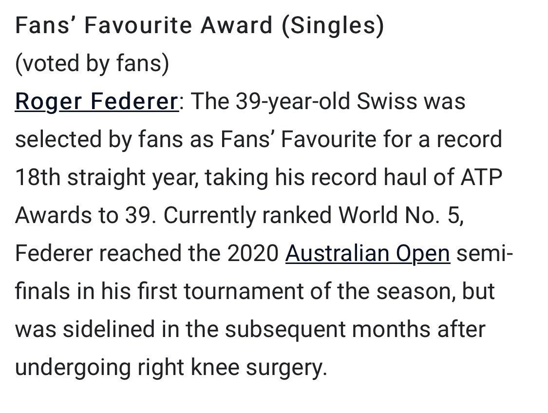 Replying to @Scarlett_Li: 1️⃣8️⃣ in a two!!! @rogerfederer again the ATP Fans Favorite Award Single Player in 2020!🎊🥳❤️