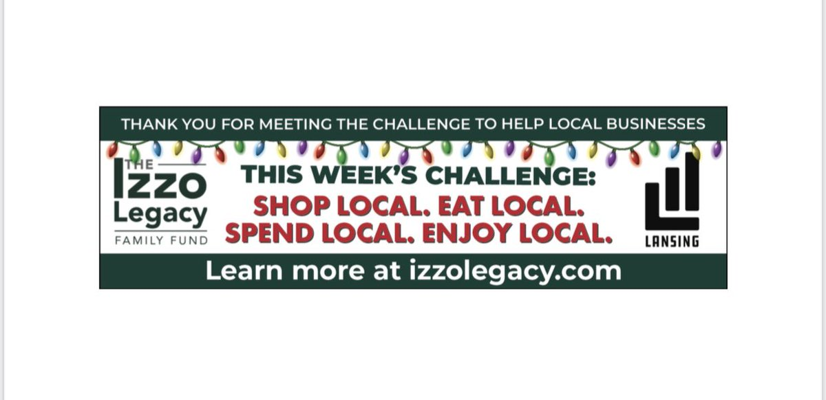 This week's challenge is to shop, eat, spend & enjoy local!!  It takes you to start the trend of supporting our community! Support the local businesses who support the area where you live, work & play!💚 #community #supportlocalbuisnesses #4thquarterchallenge #maskup #izzolegacy
