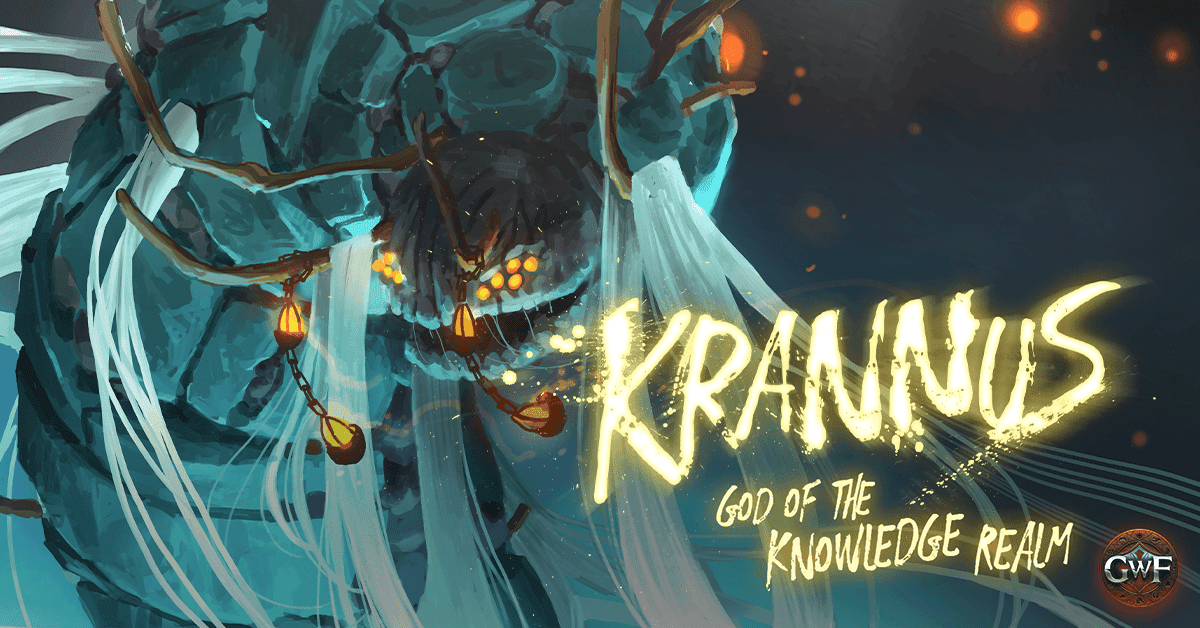 Cower before Krannus; God of Knowledge and keeper of the Ogham Library.  Find out all about this guy in our blog, coming soon.  #GWF #GodSlayers