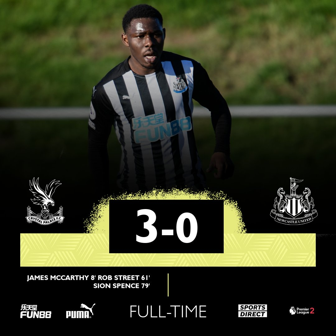 Replying to @NUFC: Full-time as #NUFC U23s are beaten at Crystal Palace in the young Magpies' final #PL2 game of the year.