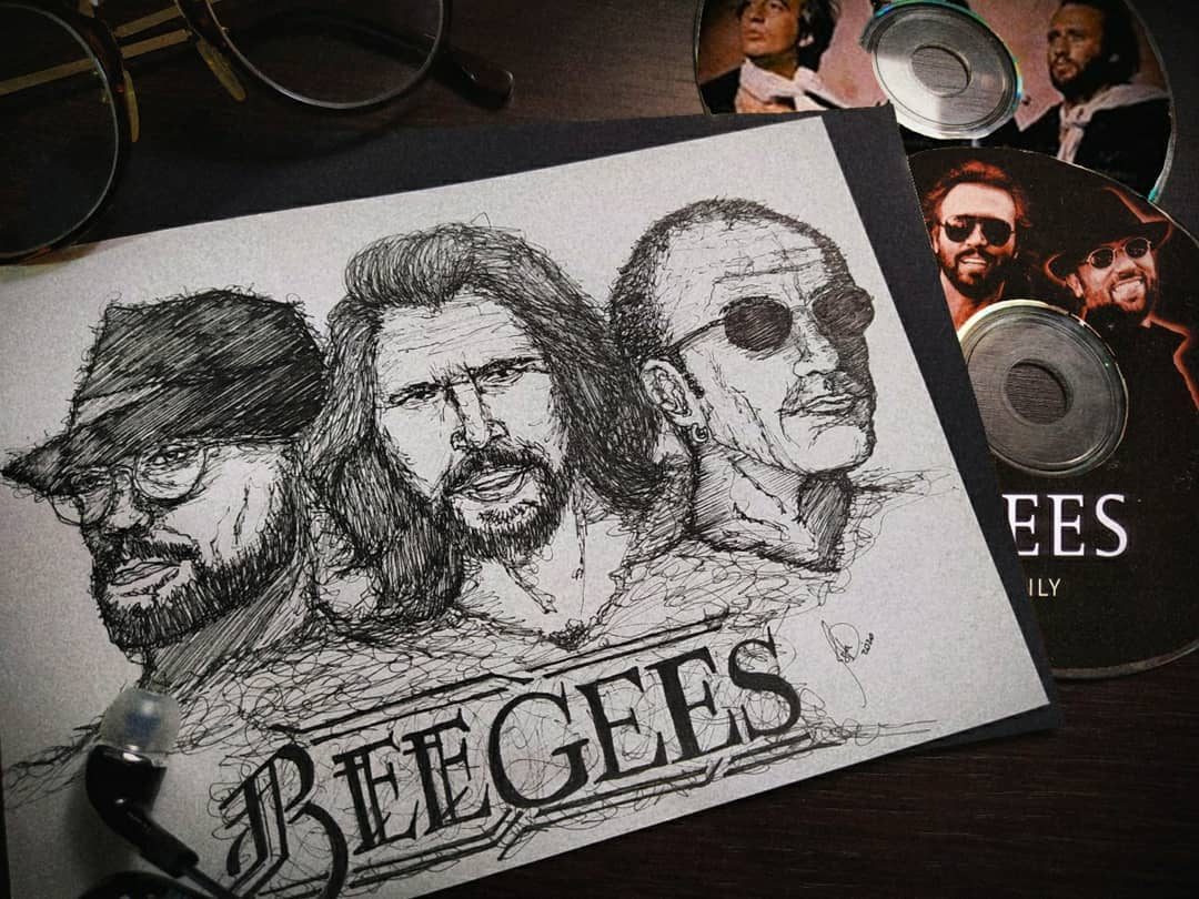 Incredible pen drawing of the #BrothersGibb by isabelacdantas_ on Instagram! Remember to share your Bee Gees-inspired art with the hashtag #MyBeeGees for a chance to be featured. ✒️ (Photo via isabelacdantas_ on Instagram)