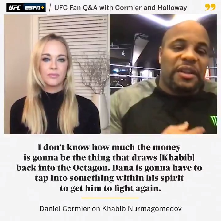 If Khabib does return, @dc_mma doesn't believe money will be the motivation 💰  Stream the UFC Fan Q&A on ESPN+ ▶️ https://t.co/uXFzmh3yR4 https://t.co/ucrT9CdBYO