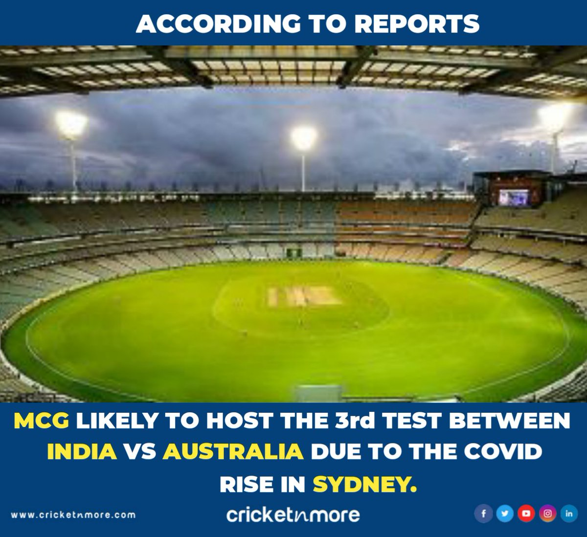 Melbourne Might Host The 3rd Test! . . #IndianCricket #TeamIndia #Aussie #AustraliaCricket #AUSvIND #NZVWI #SAvENG #mcg #scg