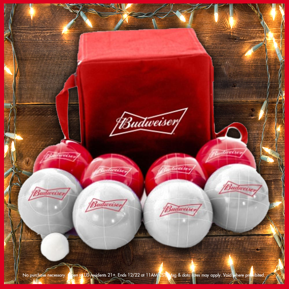 The #25DaysOfBud GIVEAWAY continues 🎉  Searching for a gift that will help your loved ones have a BALL? RT and follow for a chance to win this @BudweiserUSA Bocce Ball Set!  Shop more Outdoor Games from @ShopBeerGearUS: