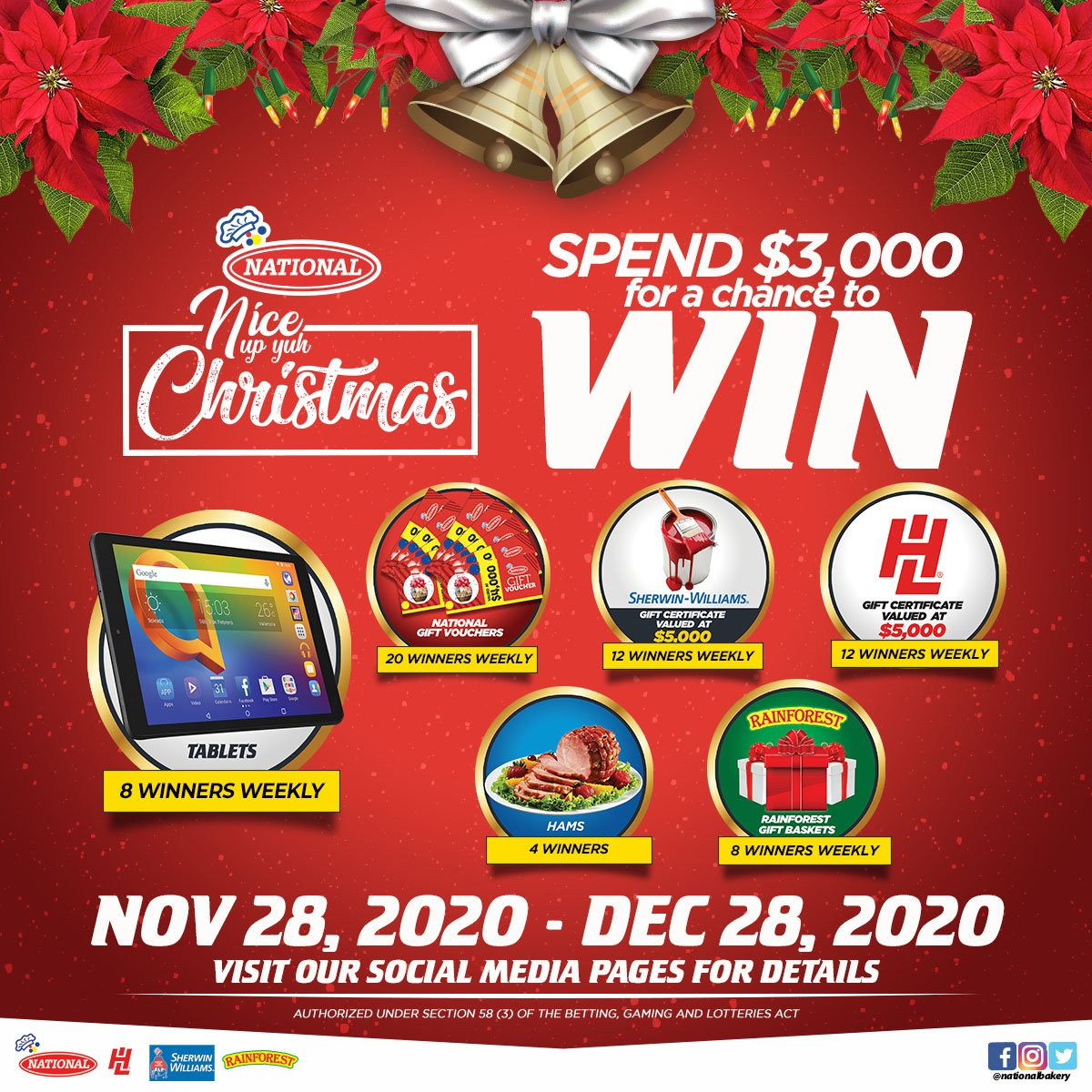 It's time to Nice Up Yuh Christmas! 🎄  Shop at National Wholesale Stores from now until Monday, December 28, 2020 and spend $3,000 for a chance to win amazing prizes!  ⬇️ See our terms and conditions below https://t.co/d2EPWUtwfH