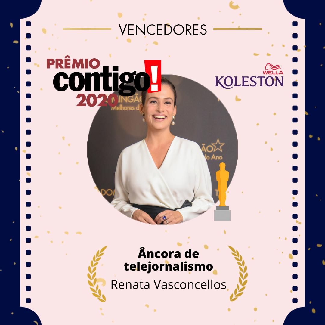 primeira categoria do #PremioCONTIGO2020 é Melhor âncora! Renata Vasconcellos, que está à frente da bancada do @jornalnacional, foi a escolhida pelo público. @wellabr #Paixaoporcabelos #KolestonNoitesIluminadas