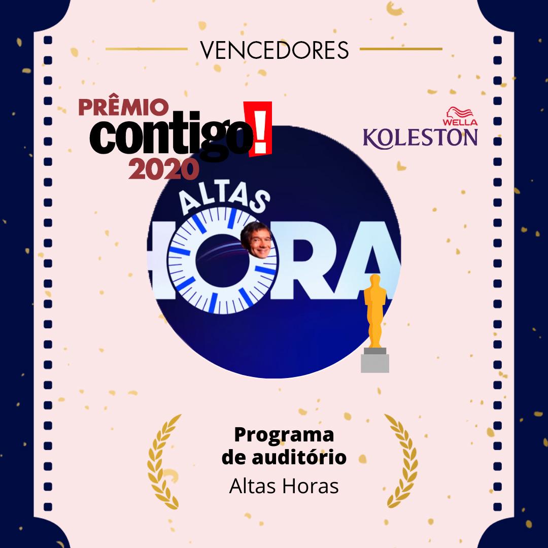 Apresentado por @oserginho, o Altas Horas venceu a categoria de melhor programa de auditório no #PremioCONTIGO2020.  @wellabr #Paixaoporcabelos #KolestonNoitesIluminadas