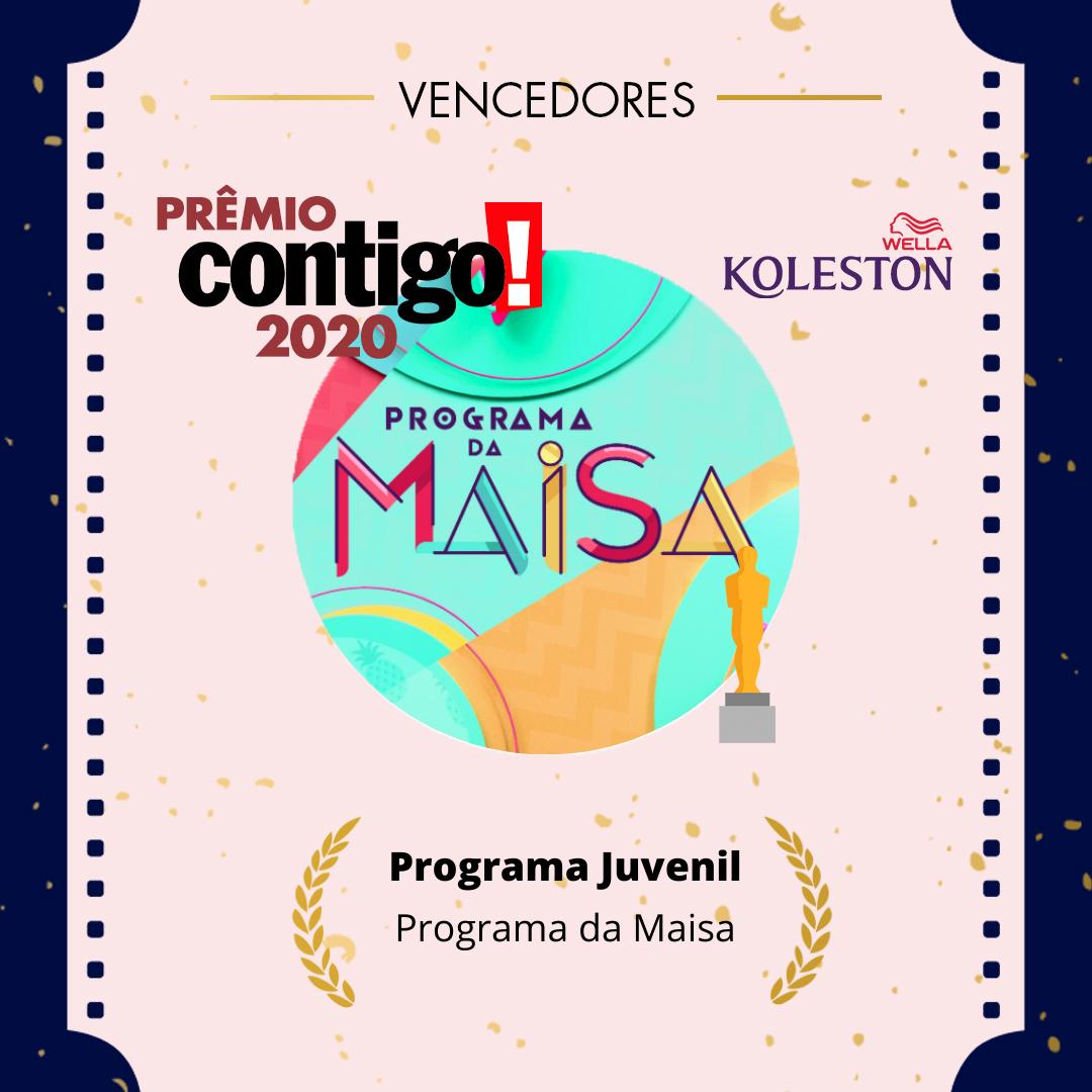 O @programdaMaisa venceu o #PremioCONTIGO2020 de Melhor Programa juvenil.  @wellabr #Paixaoporcabelos #KolestonNoitesIluminadas