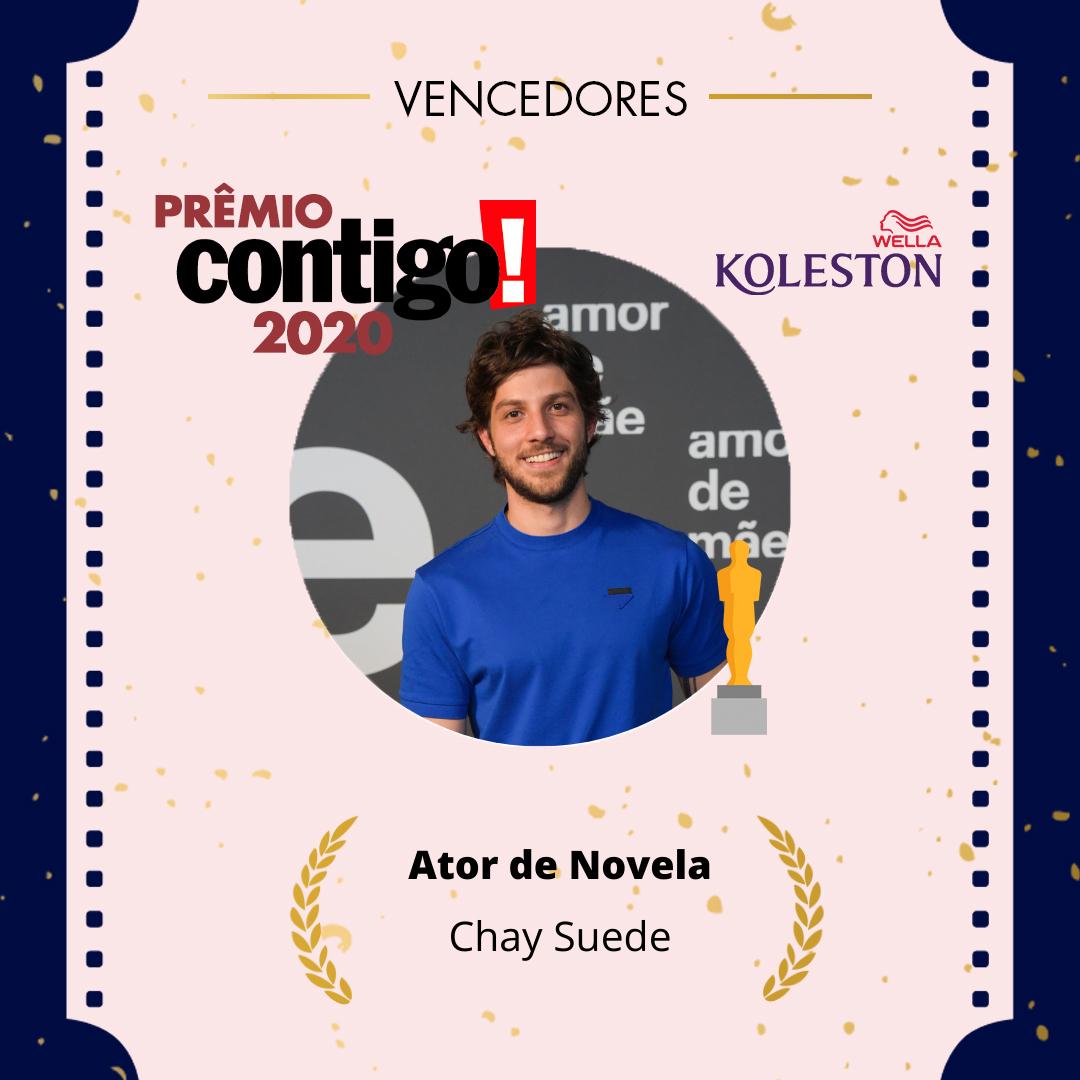 . @chaysuede venceu o #PremioCONTIGO2020 como Melhor Ator @wellabr #Paixaoporcabelos #KolestonNoitesIluminadas
