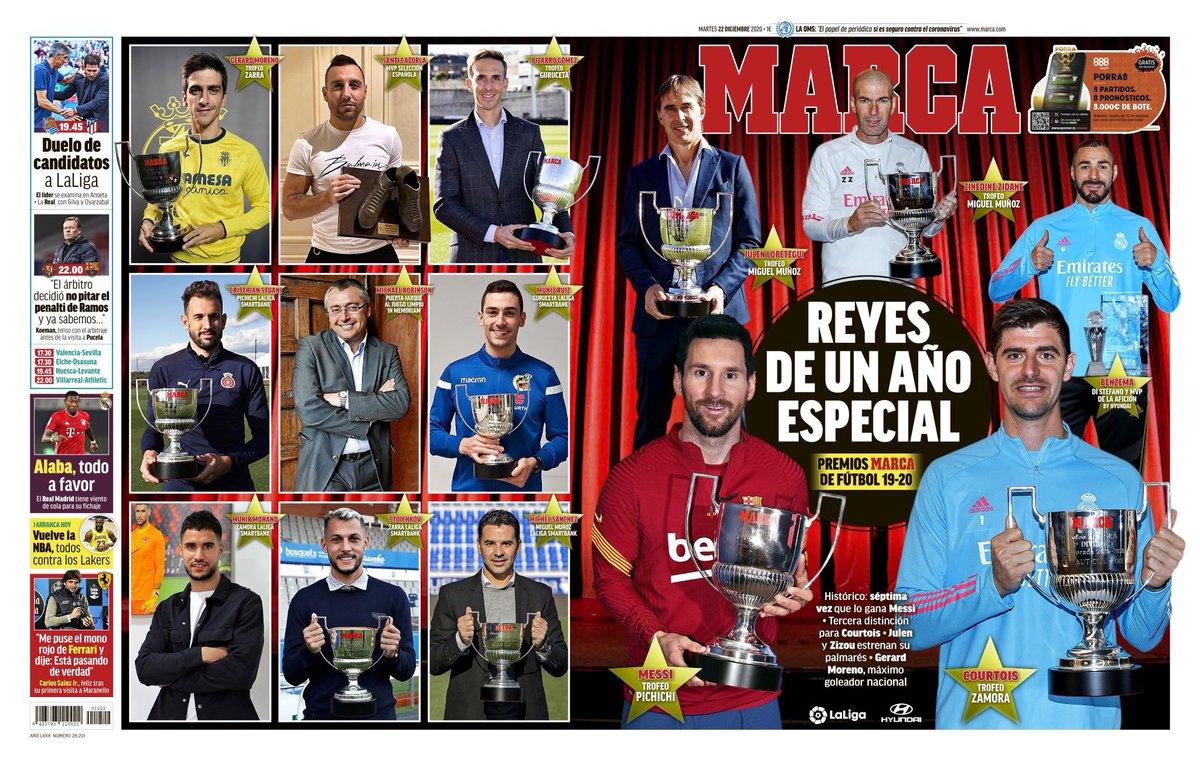 """🗞 #LaPortada de @marca: """"Reyes de un año especial""""  #PremiosMARCA2020 🏆"""