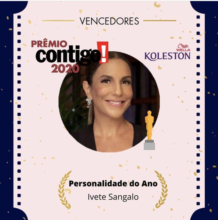 É a maior! @IveteSangalo foi eleita a 'Personalidade do Ano' pelo #PremioCONTIGO2020, da revista @ToContigo.