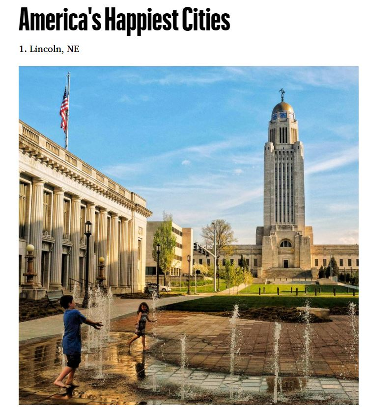 2020 hasn't been all bad ... Our community was just rated the #1 Happiest Cities in America by @MensHealthMag!     #LNK #FlyLocal #FlyLNK #FlySsafe