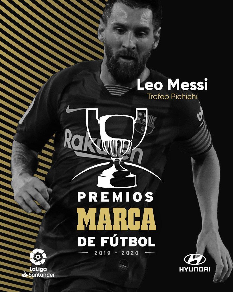 🏆 GANADORES   #PremiosMARCA2020  🏆 MVP de @LaLiga: @Benzema ⚽️ Pichichi: Leo Messi 🐐  🔝 🏆Zarra: @GerardMoreno9 👔 Mejor entrenador de @LaLiga: Zinedine Zidane y Julen Lopetegui 🧤 Zamora: @thibautcourtois  🇪🇸 MVP @SeFutbol: @19SCazorla