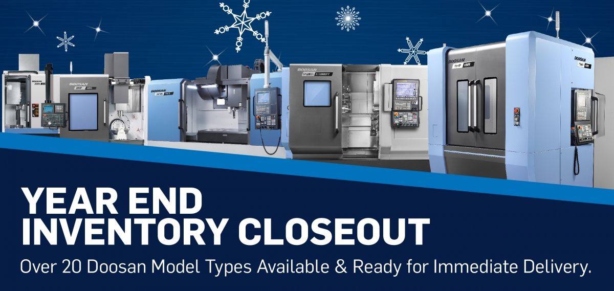 2020 is almost over! Don't miss our Year End Inventory Closeout on over 20 @doosanmta machines, priced to sell and ready to deliver. Get these machines on your shop floor ready to #MAKEMORE in 2021. Don't forget your #Section179 tax benefits! - https://t.co/nLyRTZWtH7 #cnc #mfg https://t.co/y90KoVPaPi