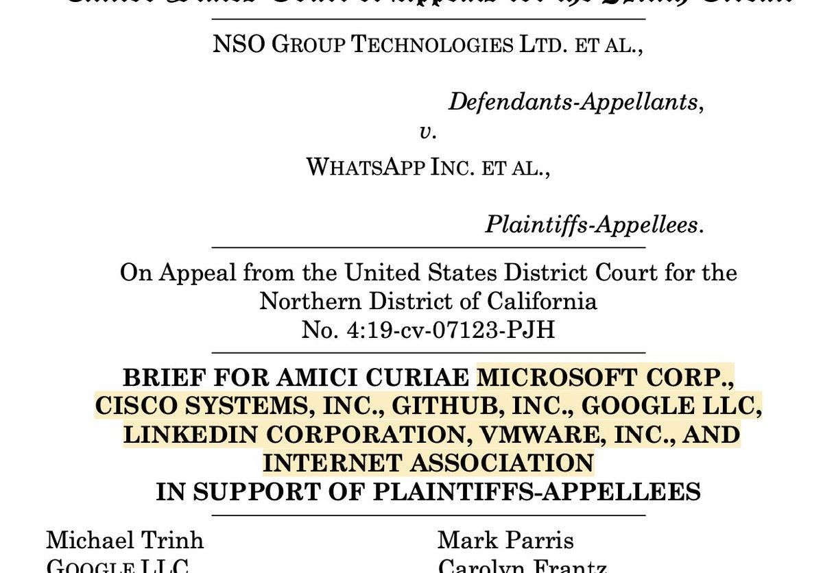 🚨BREAKING: @Microsoft @Google @Cisco @LinkedIn  @github @VMware & @InternetAssn joining the @WhatsApp v. #NSOGroup case w/an Amicus brief THREAD 1/ https://t.co/Ft1aOsiH99