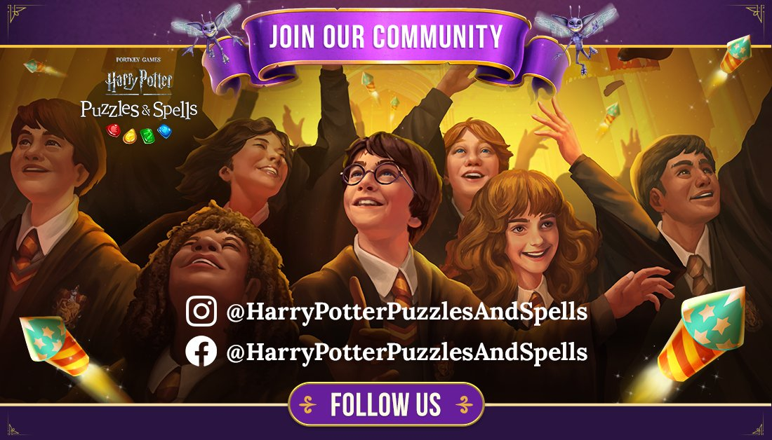 Join us on all of your favourite social media platforms! Click below to fill your feeds with more magic!  Facebook:   Instagram:   #HarryPotter #PuzzlesAndSpells #Match3