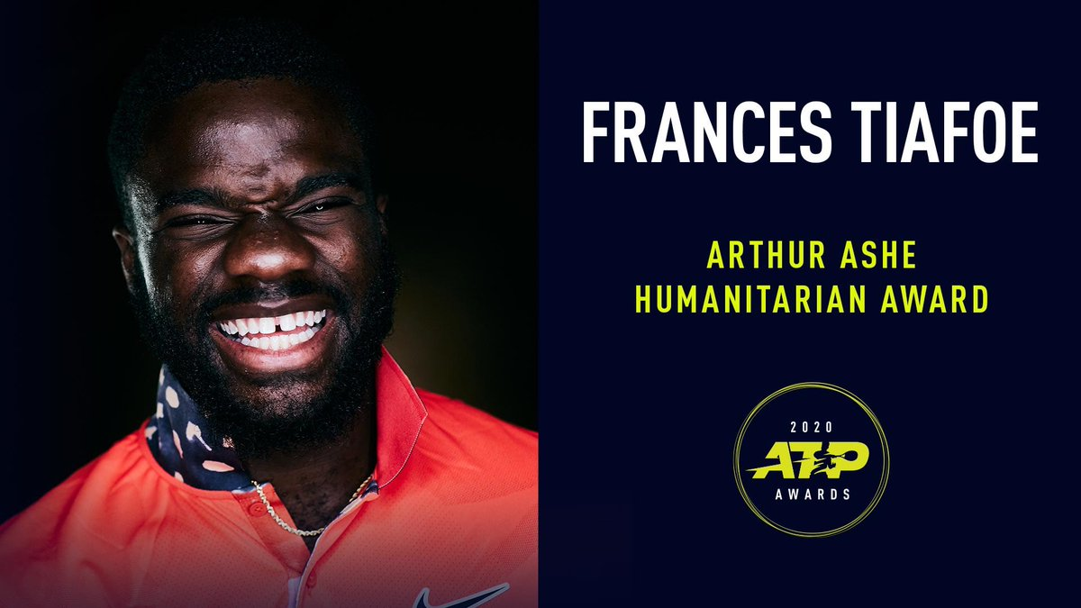 Congratulations to Frances Tiafoe (@FTiafoe) on being named the 2020 recipient of the Arthur Ashe Humanitarian Award.   So deserved!  #ATPAwards https://t.co/tAeEueXeHJ