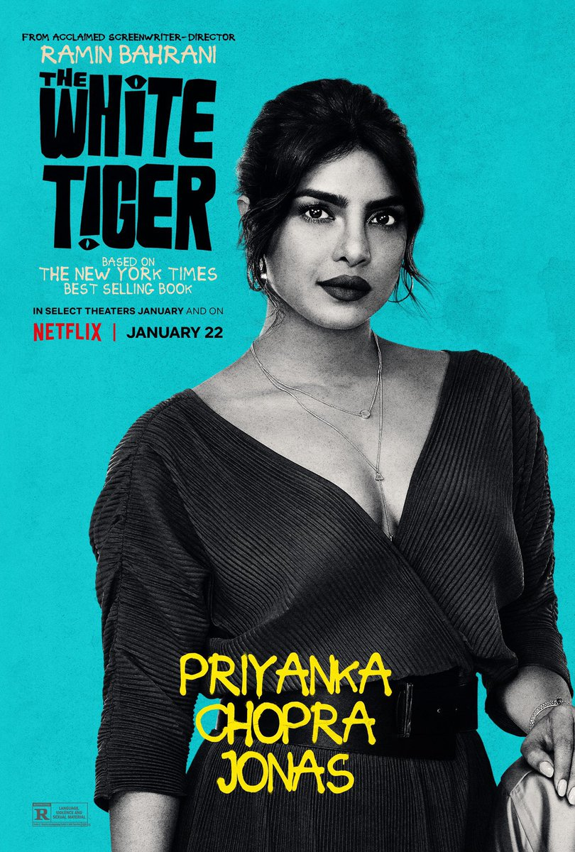"#TheWhiteTiger reviews — ""@priyankachopra brings emotional depth as a kind but conflicted independent woman who perhaps sees in Balram a sobering mirror reflection of her own origins in a Queens bodega basement.""—@THR"