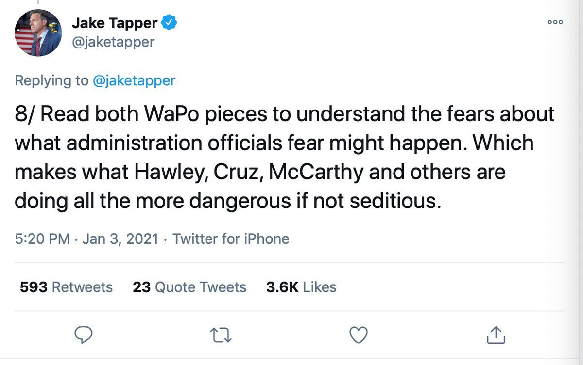 ".@jaketapper calls Republicans potentially ""seditious,"" @GeorgeWill calls them ""domestic enemies"" & then leftwing radicals terrorize @HawleyMO's wife & kids.  Reporters are knowingly inciting violence against Republicans.  They must stop their advocacy.   @CNN @washingtonpost"
