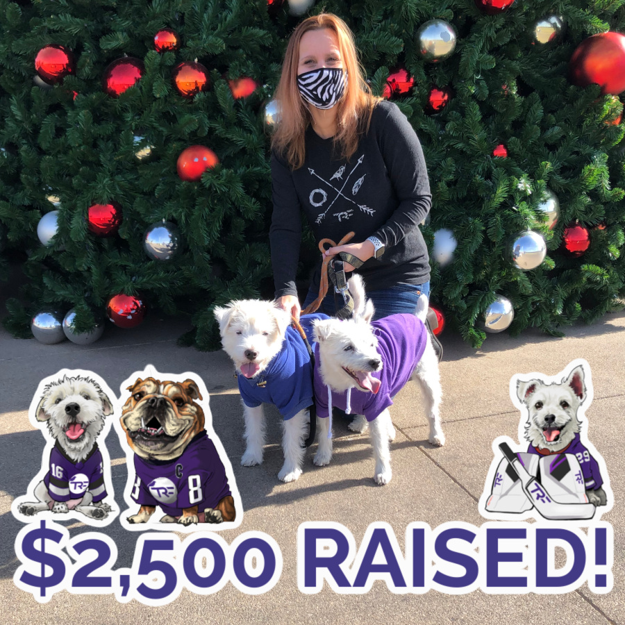 THREE CHEERS for @BarkAndreFurry, Deke, and Ovie and the $2,500 they raised for TRF this holiday season. Everyone loved their cozy tees that benefited our pediatric cancer fams.   (Psssst - it's not too late to get yours here: )