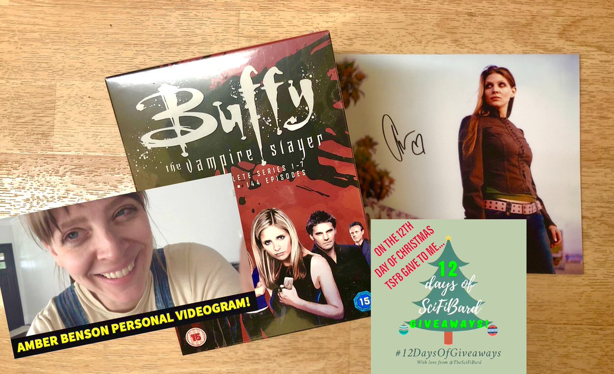 🎶 On the 12th day of Christmas, TSFB gave to me...🎶  For my FINAL #12DaysOfGiveaways, a COMPLETE #BuffyTheVampireSlayer DVD boxset, a signed @amber_benson print AND Amber videogram!😍  TO ENTER: FOLLOW me Like/retweet this WORLDWIDE?: Yes (⚠️R2 DVDs!) CLOSES: 11:59pm GMT (5th)