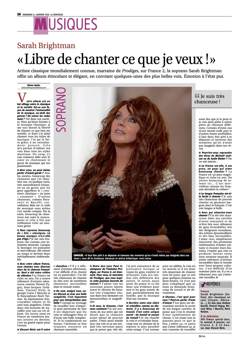 Check out Sarah's full page feature in 'La Montagne- Centre France'!   Her beautiful album 'FRANCE' is available here: https://t.co/hEJglnHgXf https://t.co/j5X11Ww0mP