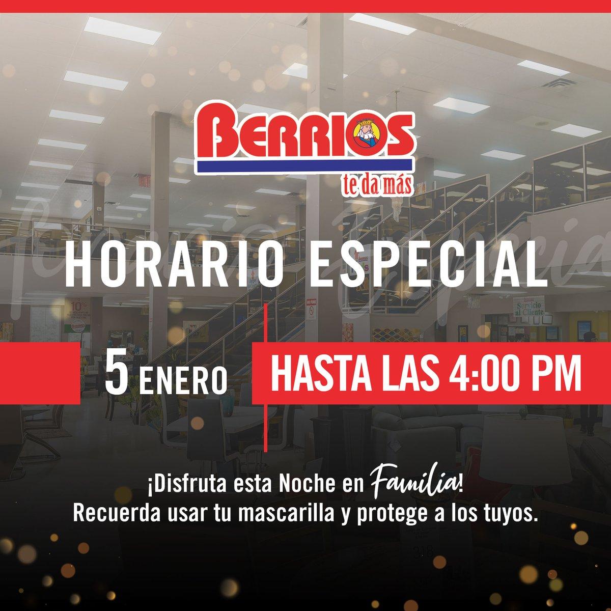 🚪 [IMPORTANTE] Cerramos Temprano .. Hoy 👑👑👑 todas nuestras tiendas cerrarán a las 4:00 pm. .. #BerríosTeDaMás #TresReyesMagos #TiempoEnFamilia