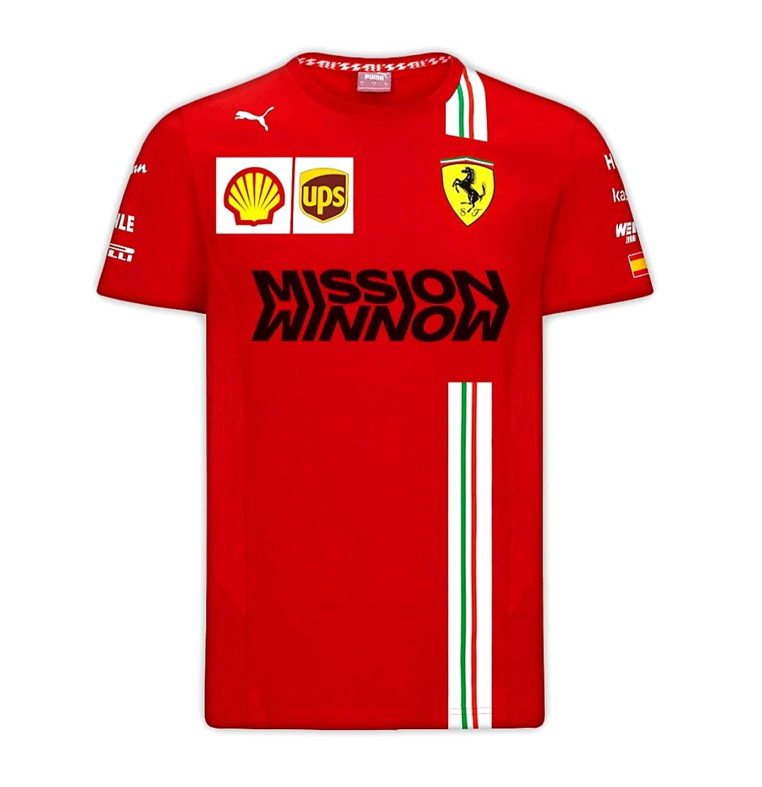 La Scuderia Ferrari muestra la nueva T-Shirt de Carlos Sainz Jr con la bandera de España en su vestimenta en la temporada de Formula 1 de 2021. @carlossainz55 @scuderiaferrari #essereferrari #f12021 #maranello #f1 #f170 #ferrari #missionwinnow https://t.co/TVCWutwLEm