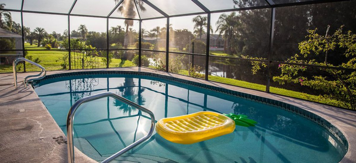 Morning serenity by the pool waterfront vacation home, sunny vacation rentals, romantic getaway, quite getaway in Rotonda West, southwest Florida on affordable cost with no fee. #relaxingvacationrental #vacation #tuesdaymotivations  #tuesdayvibe