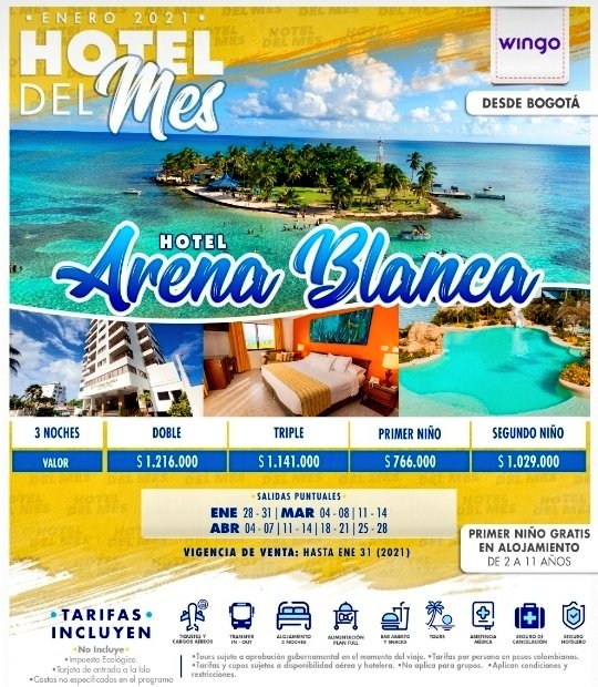 Oferta a San Andrés con Hotel Arena Blanca salidas enero, marzo y abril desde Bogotá.  #SanAndresyProvidencia #sossanandresyprovidencia #selevantaelturismo #ElTurismoEsLaClave