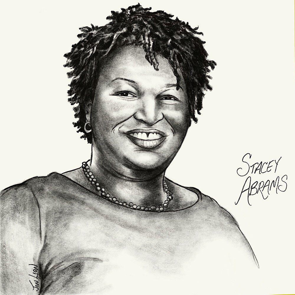 I drew a portrait of a real American HERO  My SHERO, @staceyabrams   #voteWarnockOssoffToday