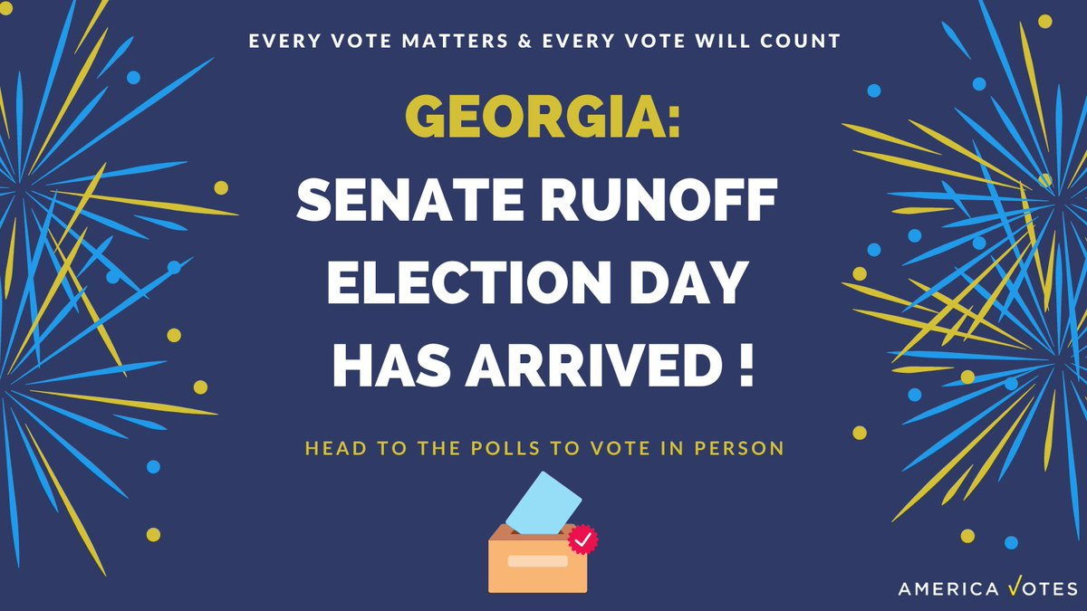 Election Day is here in Georgia! Go to  to find your polling place, and learn how you can return an absentee ballot IN-PERSON by 7 pm today to ensure it gets counted!