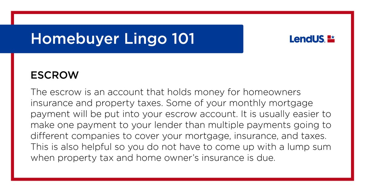 Why is an escrow account so helpful? Making smaller payments, already included in your monthly mortgage, helps pay off insurance and taxes when they come due. #lendusfamily #mortgagelingo101 #mortgageloans #mortgagepro #loanofficer #mortgage #mortgageexpert #mortgageadvisor https://t.co/QATp3WJuQy