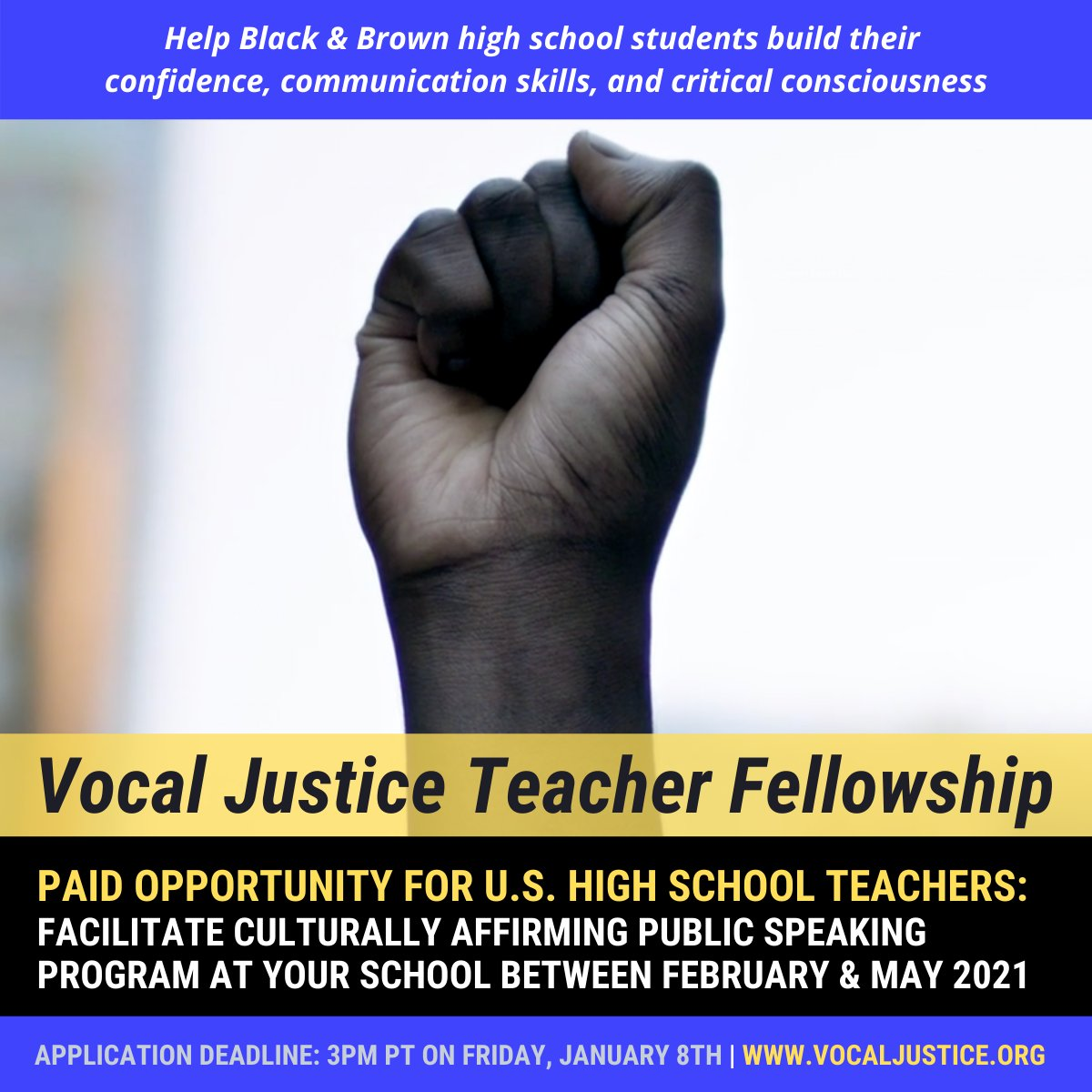 .@vocal_justice, founded by #ChengFellow @shawonj, is seeking #teachers to implement a culturally affirming public speaking program within their schools. Applications due 1/8 at 3pm PT. Learn more about this paid opportunity + apply here:  #SocialJustice