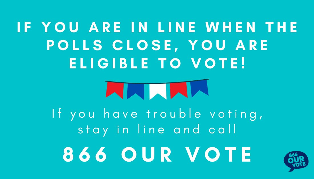 A reminder to voters in #Georgia still waiting to cast their ballots: if you're in line when your polling location is scheduled to close, you are eligible to vote. Please, STAY IN LINE and make your voice heard! #ElectionProtection