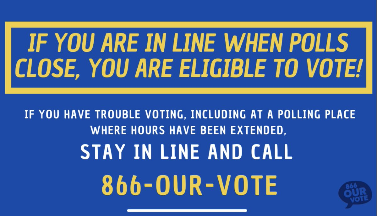 Georgia voters if you're still waiting in line to vote and the polls are scheduled to close, remember you still have a right to vote. Stay in line, make your voice heard! #ElectionProtection