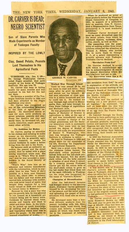 78 years ago, on 1/5/1943, George Washington Carver passed away. Newspapers around the country reported on his death. Six months later, Congress designated his birthplace as a national monument— the first unit of the @NatlParkService  dedicated to an African American! Photo-NPS