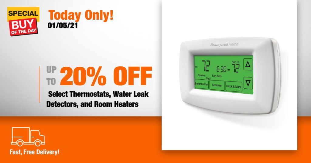 Stay cozy this winter with savings on select thermostats, water leak detectors, and room heaters from Home Depot's online only Special Buy of the Day! https://t.co/JzpYbYEqCe https://t.co/jIDANSe3lS
