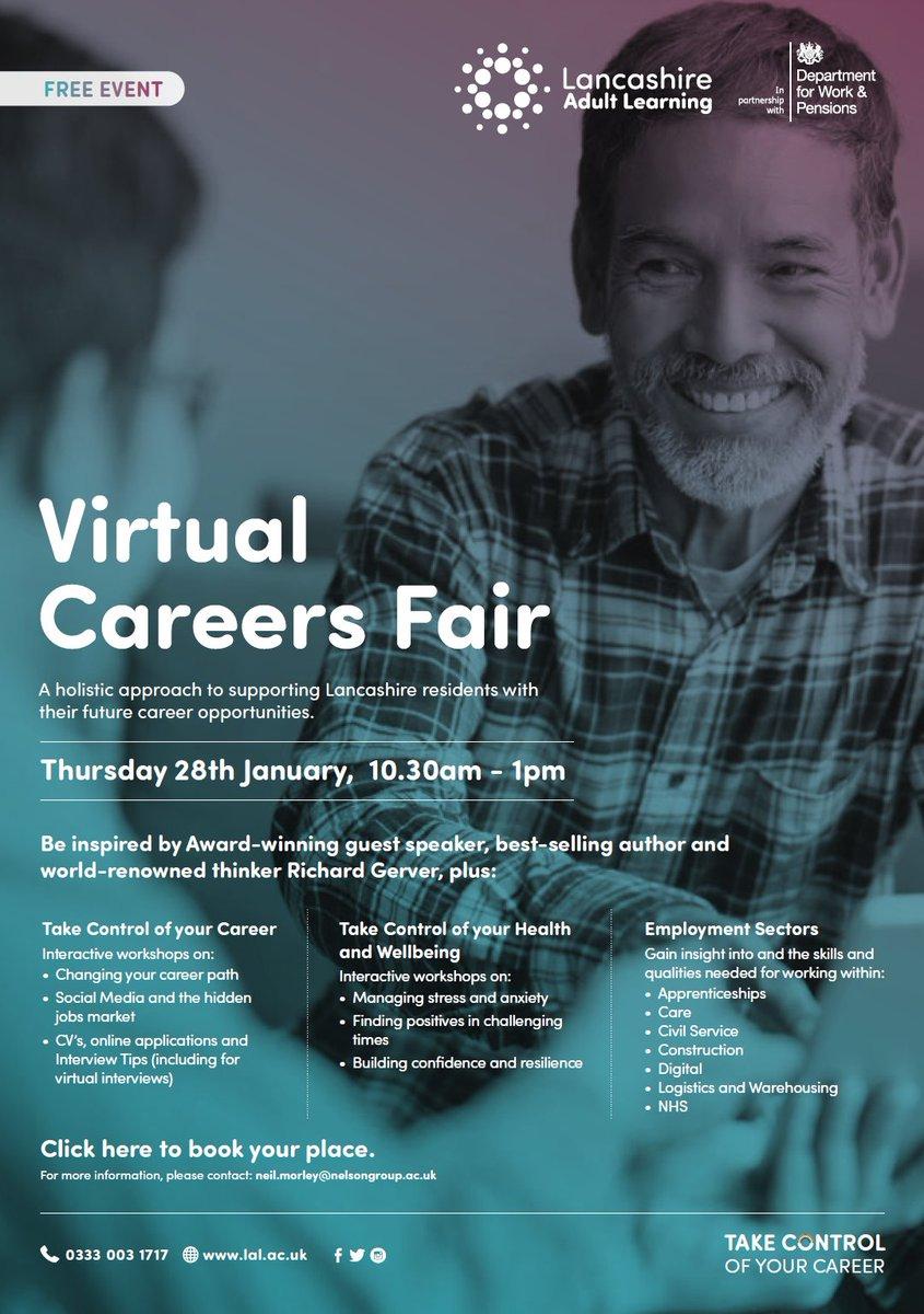 #upskillingLancashire #TakeControl of 2021 & sign up for @LancsLearning #Virtual #Careers Fair hosted in partnership with @JCPinLancashire #SaveTheDate 28th Jan ✅ @GillianKeegan @suepemberholex @LALPartnerships @TomGeeLAL @richardgerver @anitajhoughton @MrsHW @LancsSkillsHub