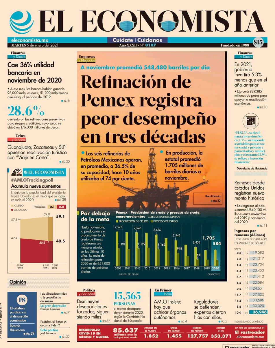 El Peor Desempeño de @Pemex Refinanción en 3 Décadas.  Felicidades por su desempeño a la Secretaria de Refinación, @rocionahle .