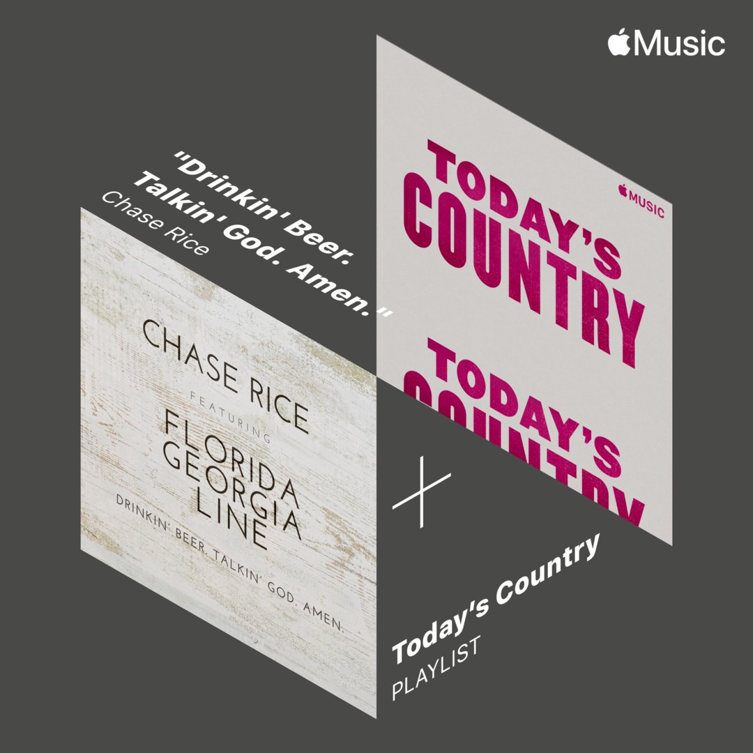 "Thanks @AppleMusic for adding ""Drinkin' Beer. Talkin' God. Amen."" to the #TodaysCountry playlist. Check it out here:  @FLAGALine"