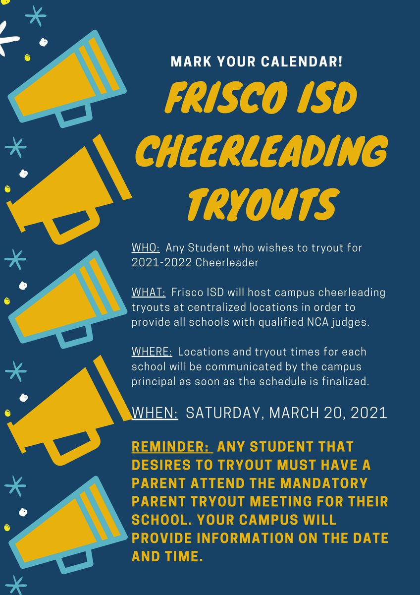 Frisco Isd 2022 Calendar.Pearson Middle School On Twitter If Your Student Is Interested In Trying Out For Ms Or Hs Cheer Mark Your Calendars Now For Saturday March 20 All Tryouts Will Be Held In