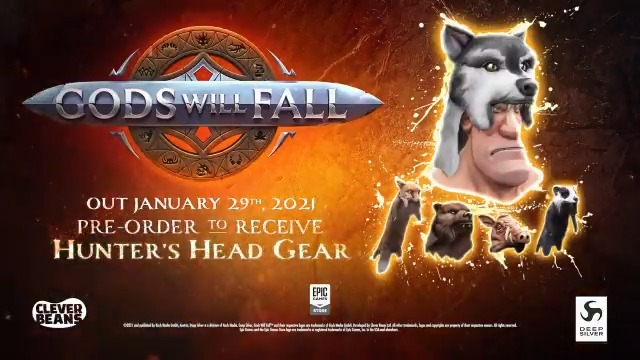 Forge your path through the realms of ruthless Gods. Your clan are made up of every size and each shall rise through the ranks with their own exclusive weapon type, skills and items.  Pre-purchase #GodsWillFall now to get the Hunter's Head Gear set.
