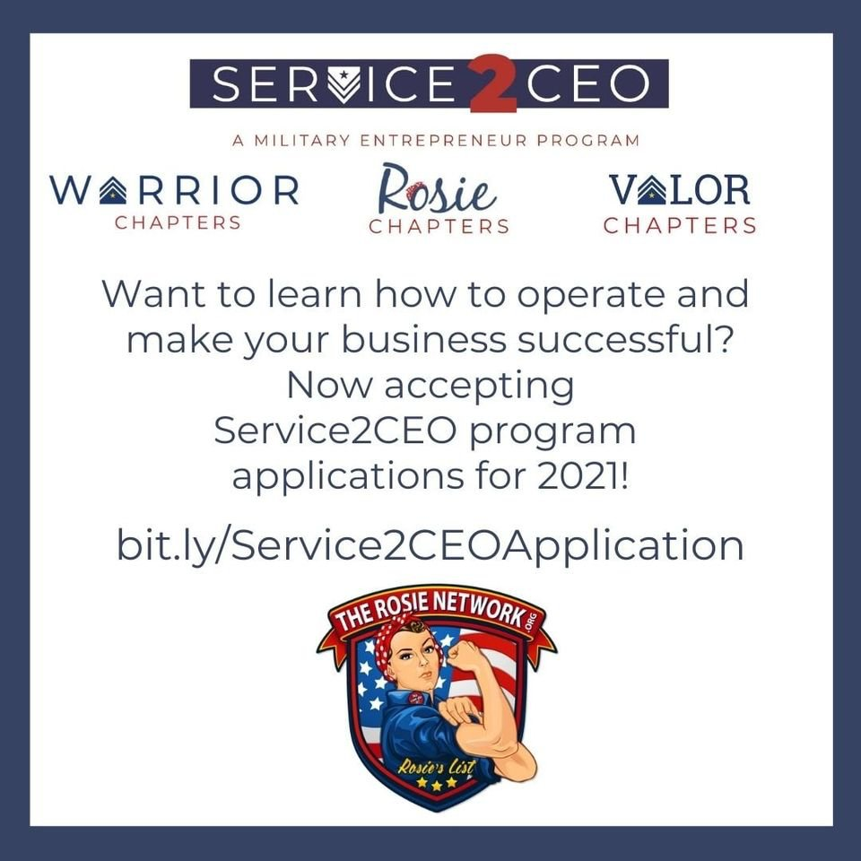 It is NOT to late to join The Rosie Network's Service2CEO program in 2021.  To learn more visit ,  Visit  and apply today! ***Programs are currently hosted virtually due to the Covid 19 Pandemic*** #miltaryentrepreneur #Service2ceo