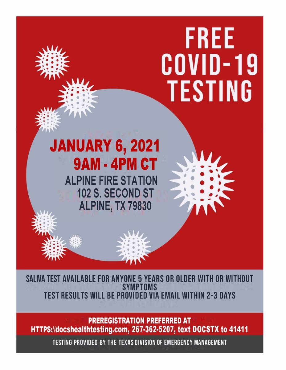 Hello, Lobos. Here's info on the upcoming Free COVID Testing in the Tri-County area.