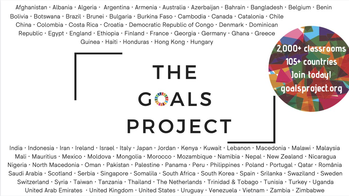 Registration for the #GoalsProject is open! Join us!➡️  🌐 Classrooms from across the world 🌐 Taking on the 17 #GlobalGoals 🌐 Working to take action for people and planet  Free and open to all classrooms for students ages 3-20. #TeachSDGs #ClimateActionP